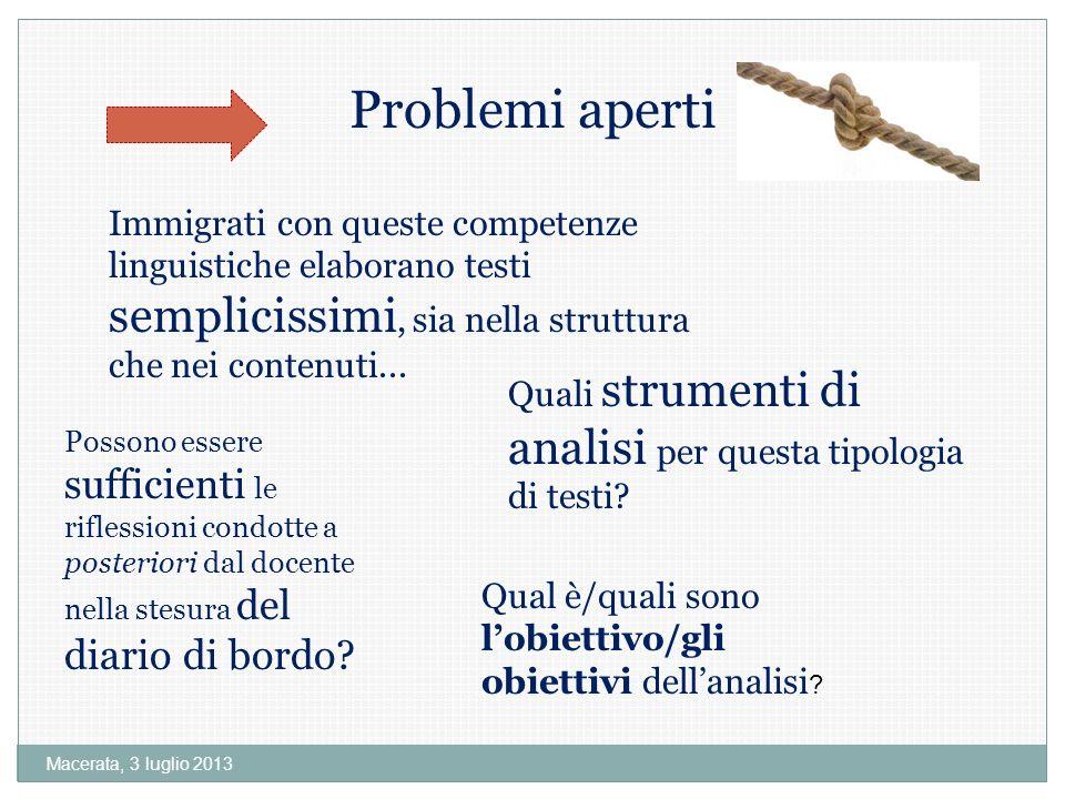 Problemi aperti Immigrati con queste competenze linguistiche elaborano testi semplicissimi, sia nella struttura che nei contenuti...