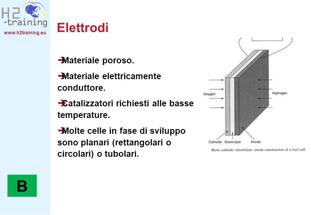 B Elettrodi Materiale poroso. Materiale elettricamente conduttore.