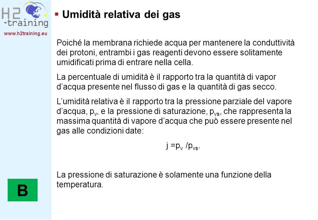 B Umidità relativa dei gas