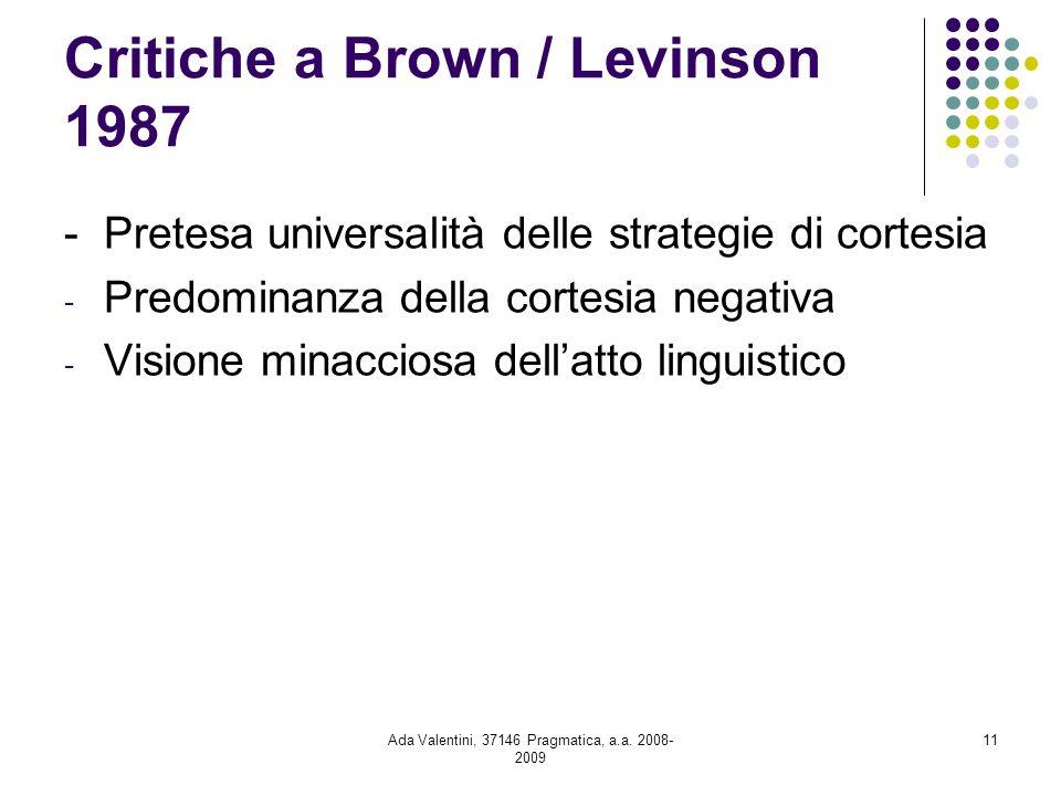 Critiche a Brown / Levinson 1987