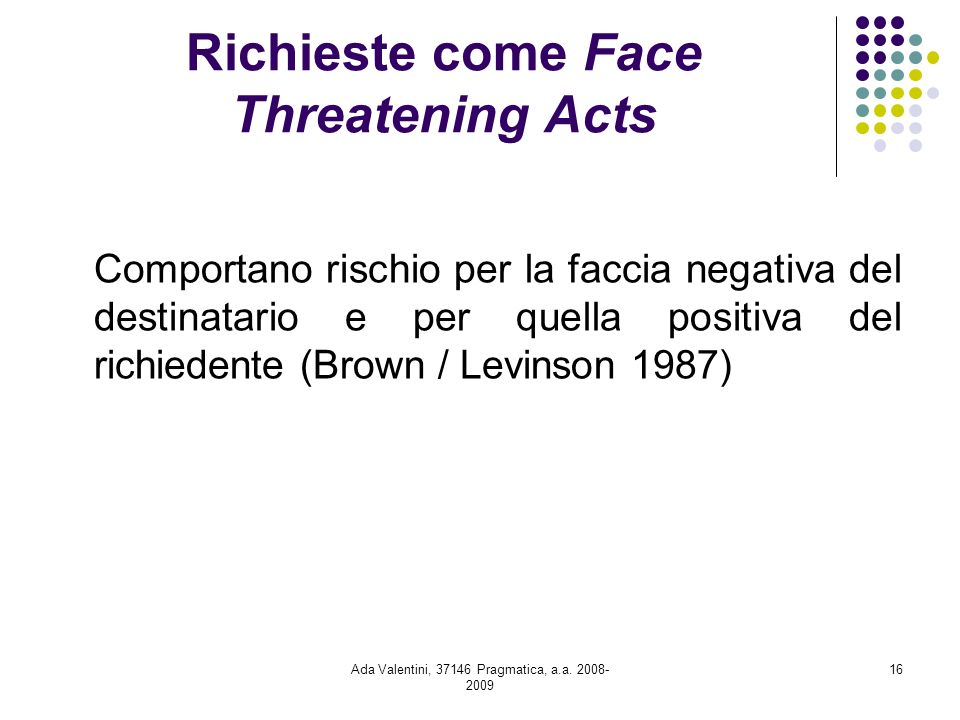Richieste come Face Threatening Acts