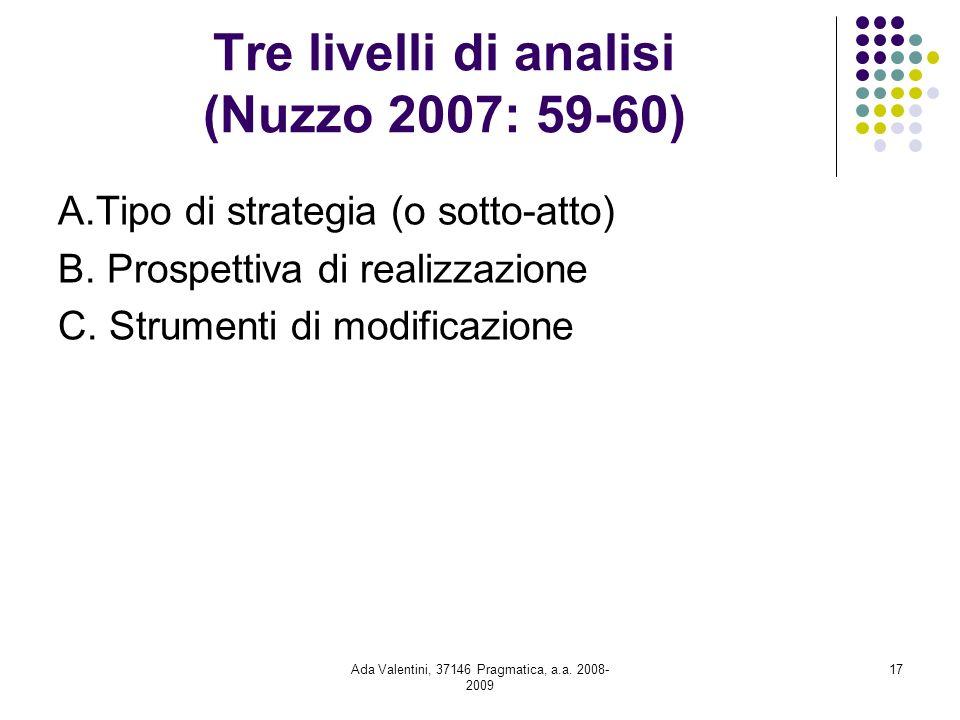 Tre livelli di analisi (Nuzzo 2007: 59-60)