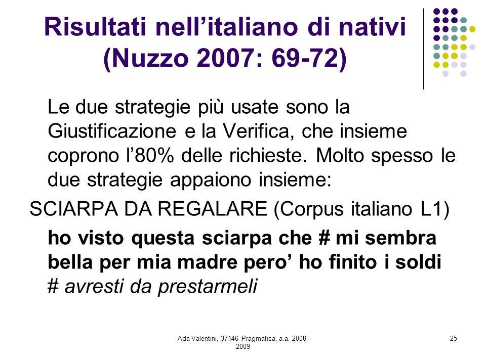 Risultati nell'italiano di nativi (Nuzzo 2007: 69-72)
