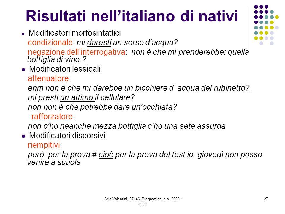 Risultati nell'italiano di nativi