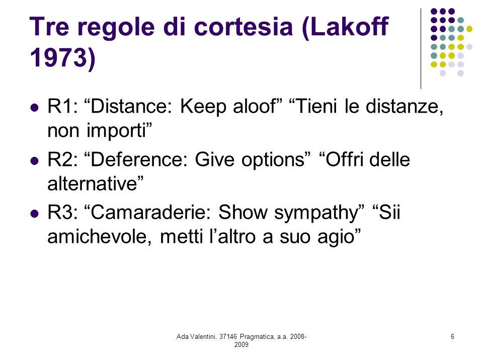 Tre regole di cortesia (Lakoff 1973)