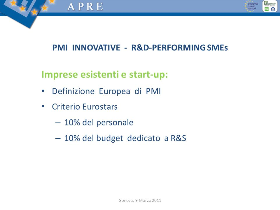 PMI INNOVATIVE - R&D-PERFORMING SMEs