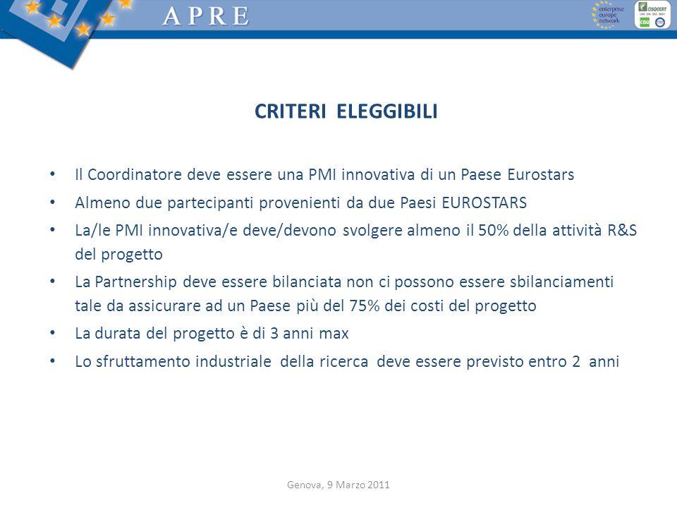 CRITERI ELEGGIBILI Il Coordinatore deve essere una PMI innovativa di un Paese Eurostars. Almeno due partecipanti provenienti da due Paesi EUROSTARS.