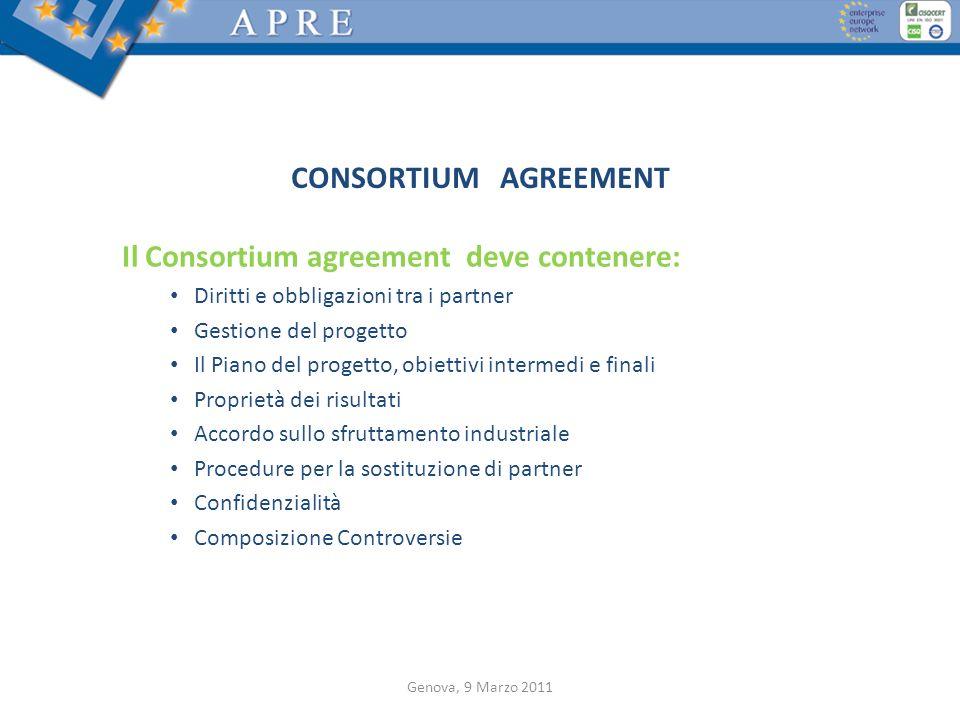 Il Consortium agreement deve contenere: