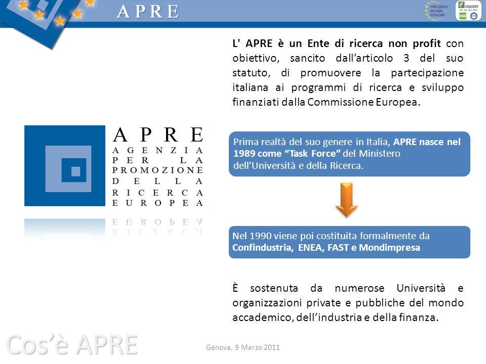 L APRE è un Ente di ricerca non profit con obiettivo, sancito dall'articolo 3 del suo statuto, di promuovere la partecipazione italiana ai programmi di ricerca e sviluppo finanziati dalla Commissione Europea.