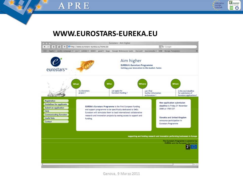 WWW.EUROSTARS-EUREKA.EU Genova, 9 Marzo 2011
