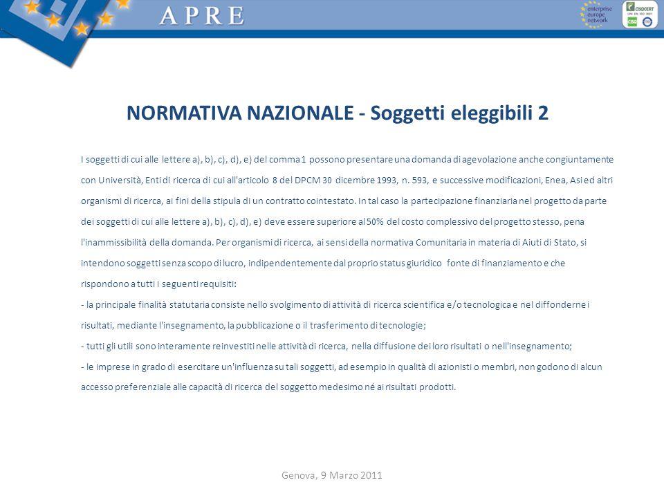 NORMATIVA NAZIONALE - Soggetti eleggibili 2