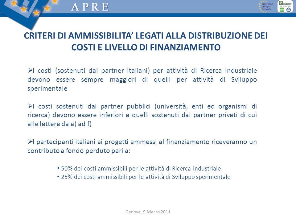 CRITERI DI AMMISSIBILITA' LEGATI ALLA DISTRIBUZIONE DEI COSTI E LIVELLO DI FINANZIAMENTO
