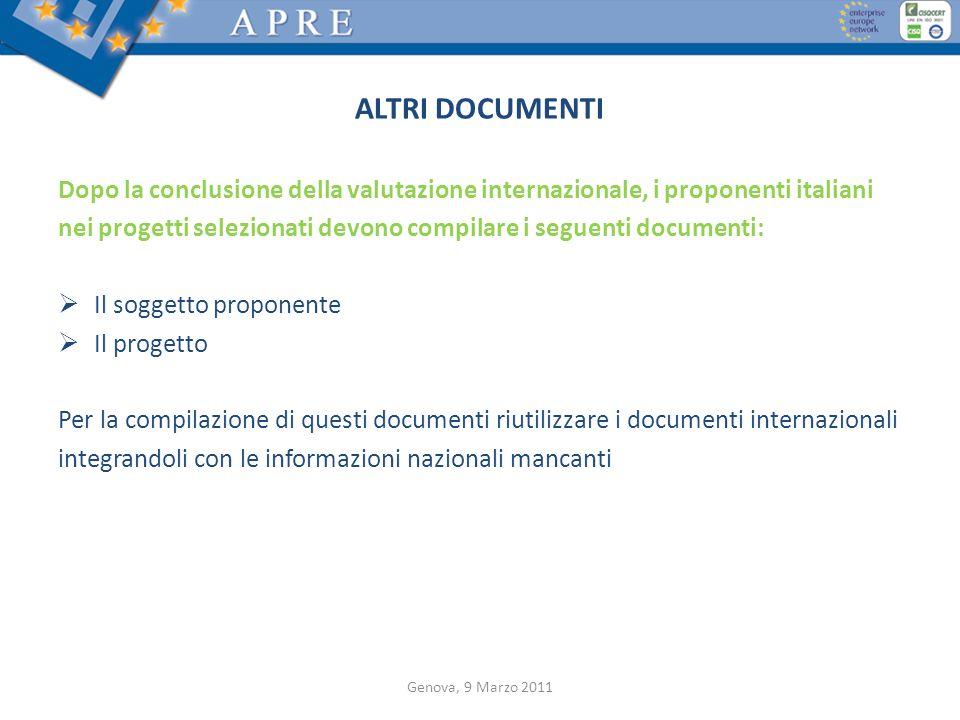 ALTRI DOCUMENTI Dopo la conclusione della valutazione internazionale, i proponenti italiani.