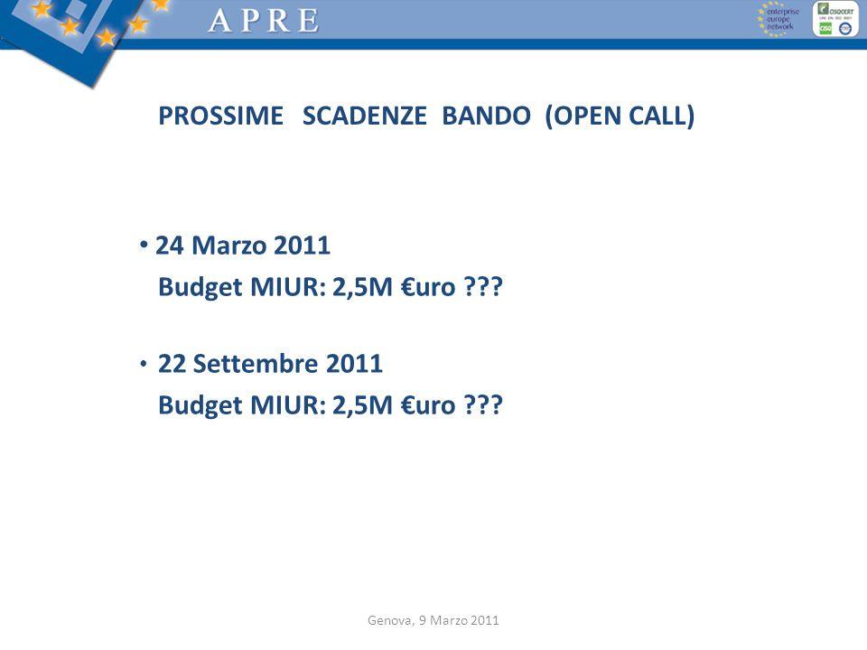 PROSSIME SCADENZE BANDO (OPEN CALL)