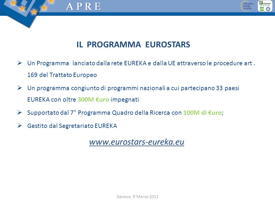IL PROGRAMMA EUROSTARS