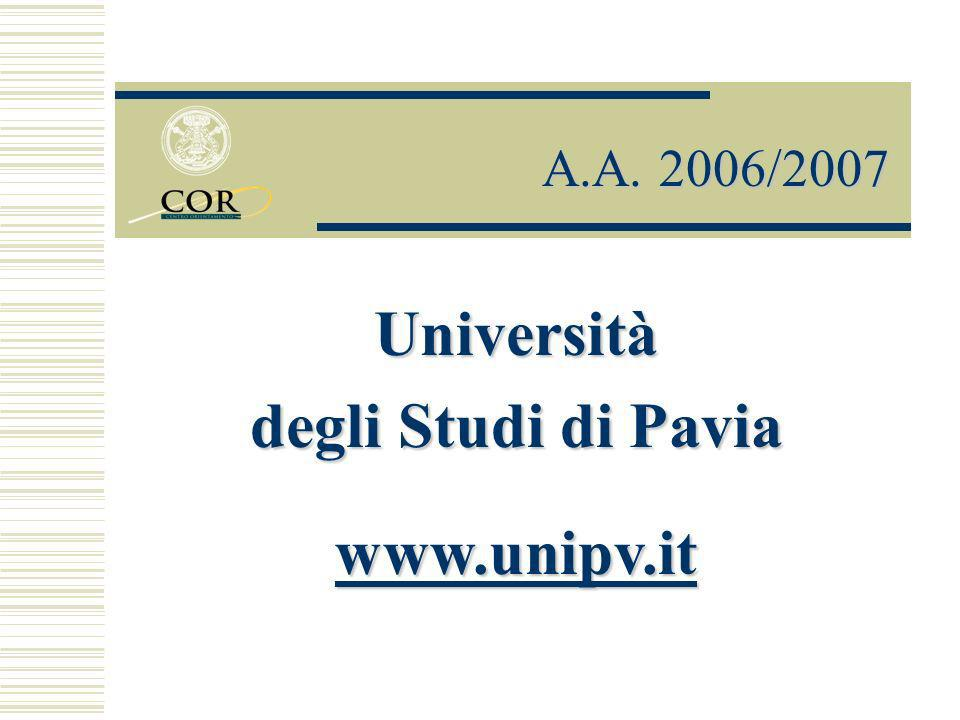 Università degli Studi di Pavia www.unipv.it