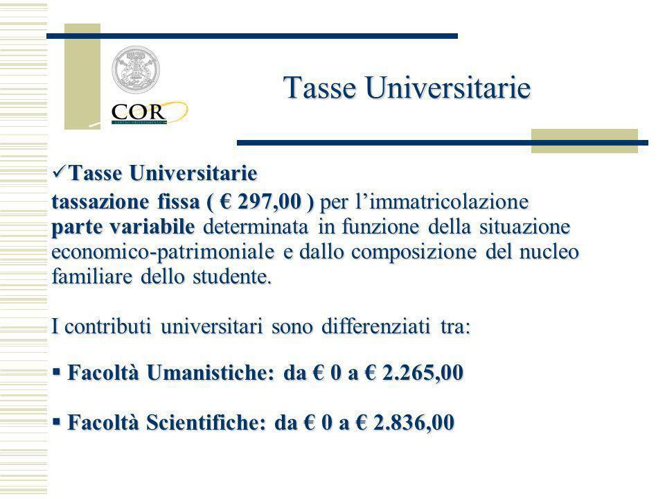 Tasse Universitarie Tasse Universitarie. tassazione fissa ( € 297,00 ) per l'immatricolazione.