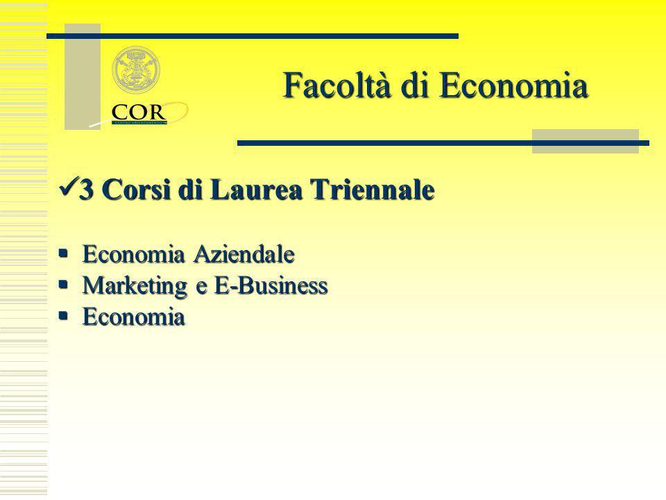Facoltà di Economia 3 Corsi di Laurea Triennale Economia Aziendale