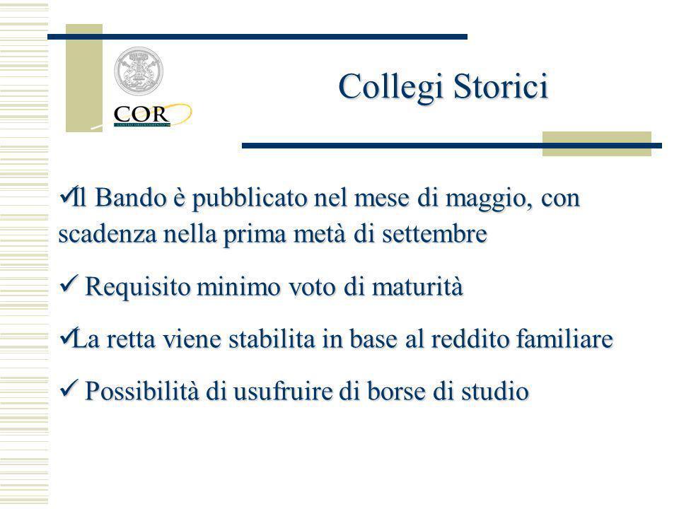 Collegi Storici Il Bando è pubblicato nel mese di maggio, con scadenza nella prima metà di settembre.