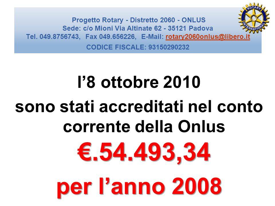 sono stati accreditati nel conto corrente della Onlus €.54.493,34