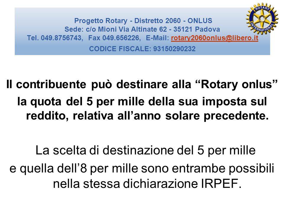 Il contribuente può destinare alla Rotary onlus