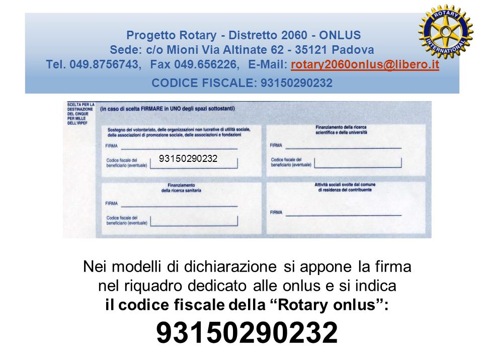 il codice fiscale della Rotary onlus :