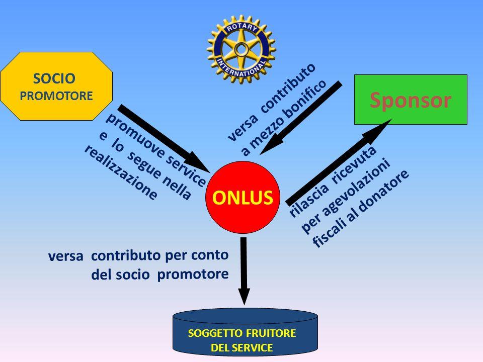 Sponsor ONLUS SOCIO versa contributo a mezzo bonifico promuove service