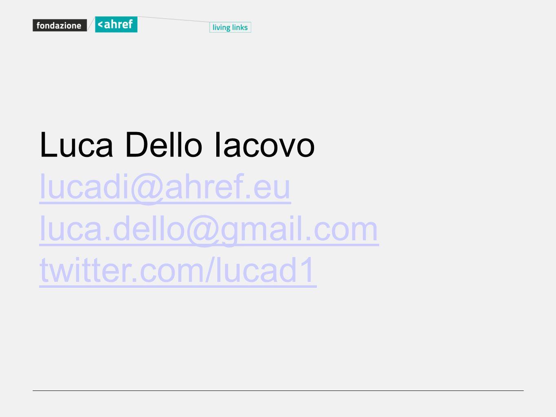 Luca Dello Iacovo lucadi@ahref.eu luca.dello@gmail.com twitter.com/lucad1