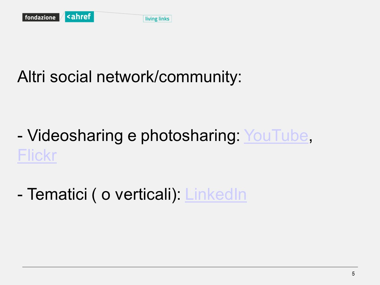 Altri social network/community: