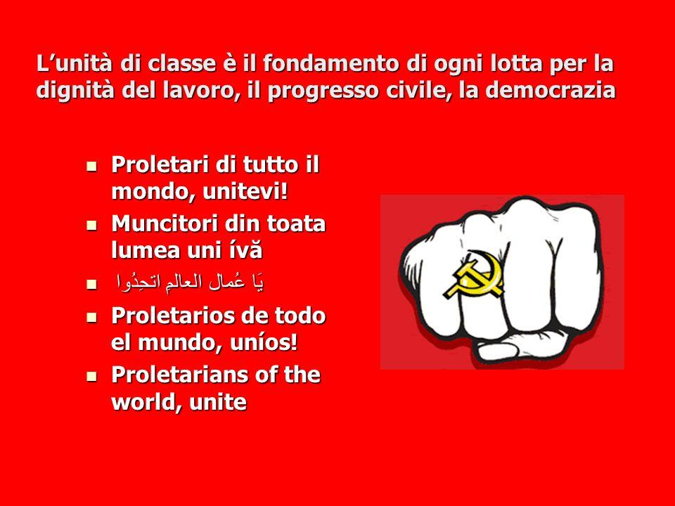 L'unità di classe è il fondamento di ogni lotta per la dignità del lavoro, il progresso civile, la democrazia