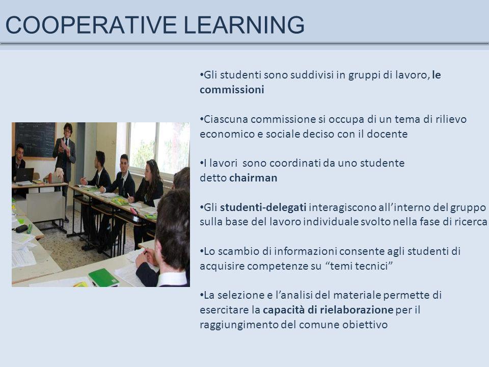 COOPERATIVE LEARNING Gli studenti sono suddivisi in gruppi di lavoro, le commissioni.