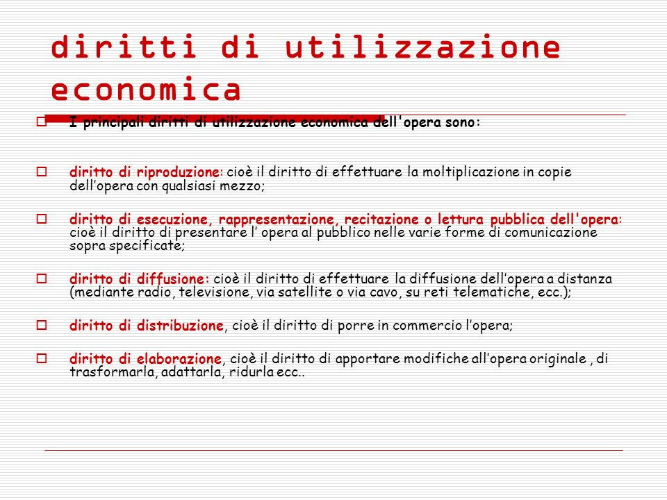 diritti di utilizzazione economica