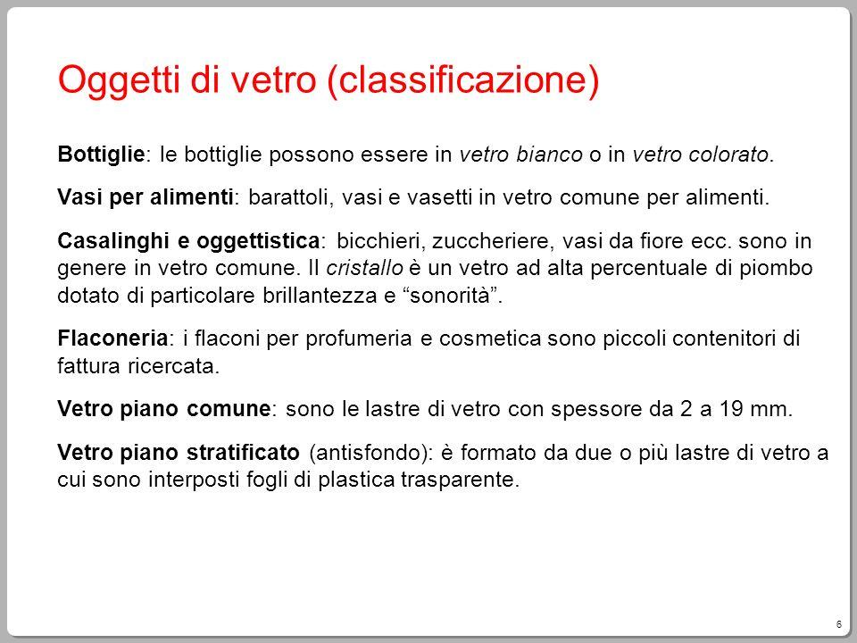 Oggetti di vetro (classificazione)