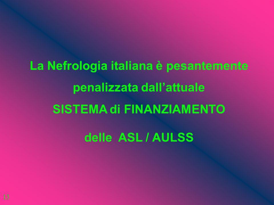 La Nefrologia italiana è pesantemente penalizzata dall'attuale