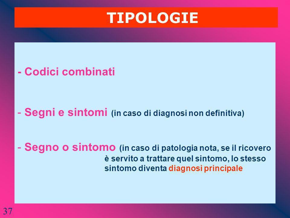 TIPOLOGIE - Codici combinati