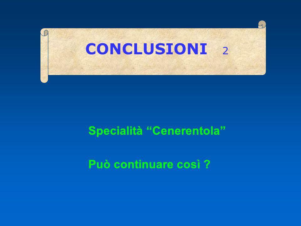 CONCLUSIONI 2 Specialità Cenerentola Può continuare così