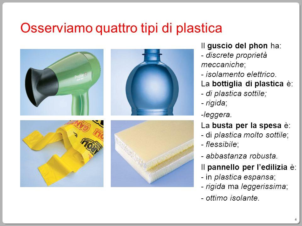 Osserviamo quattro tipi di plastica