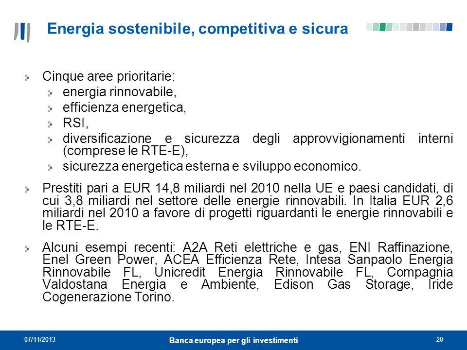Energia sostenibile, competitiva e sicura