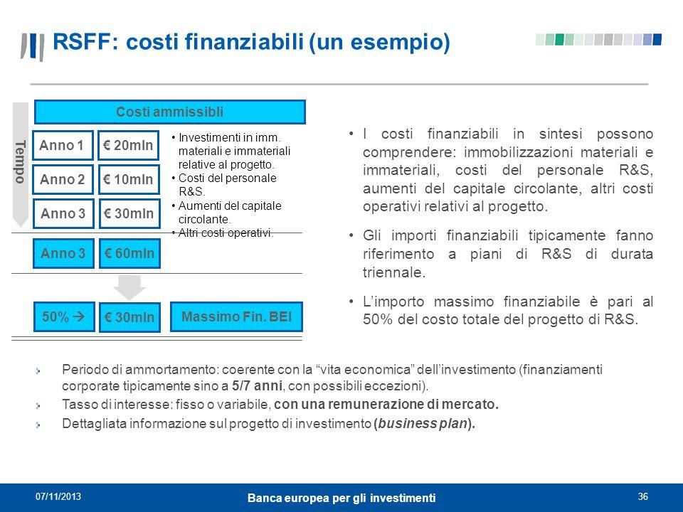 RSFF: costi finanziabili (un esempio)