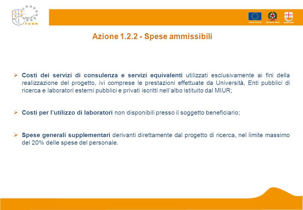 Azione 1.2.2 - Spese ammissibili