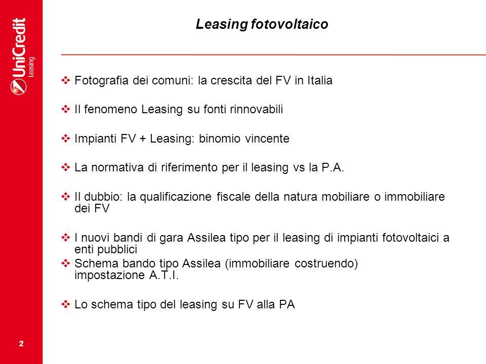 Leasing fotovoltaico Fotografia dei comuni: la crescita del FV in Italia. Il fenomeno Leasing su fonti rinnovabili.