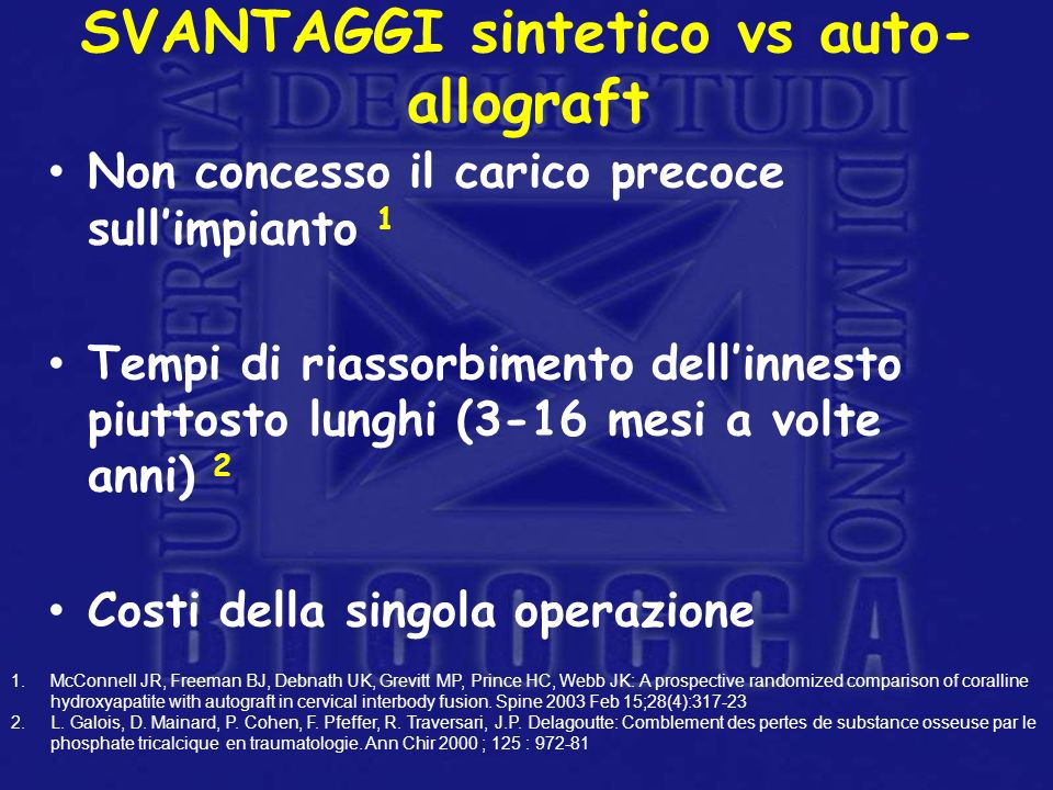 SVANTAGGI sintetico vs auto-allograft