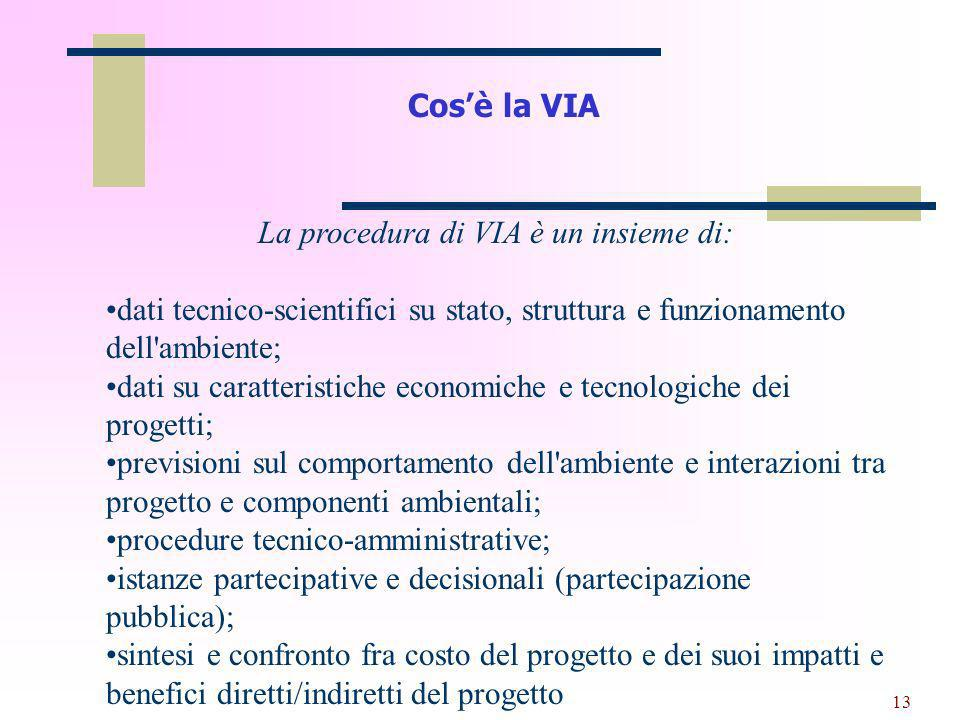 La procedura di VIA è un insieme di: