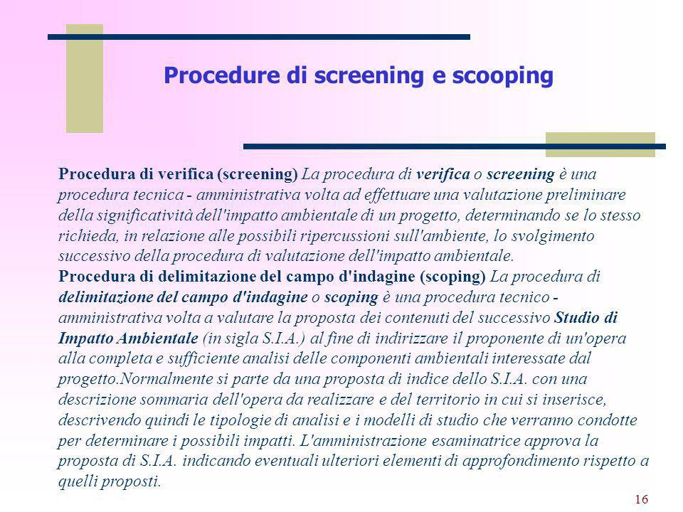 Procedure di screening e scooping