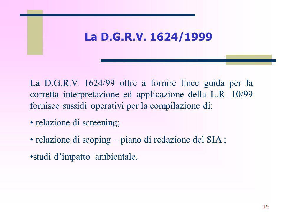 La D.G.R.V. 1624/1999