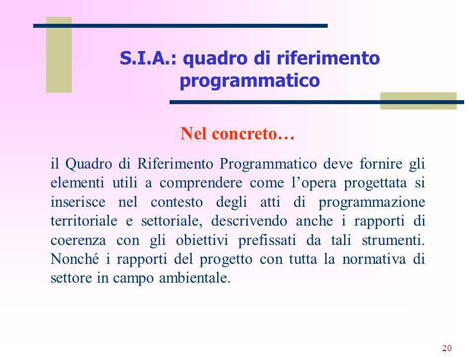 S.I.A.: quadro di riferimento programmatico