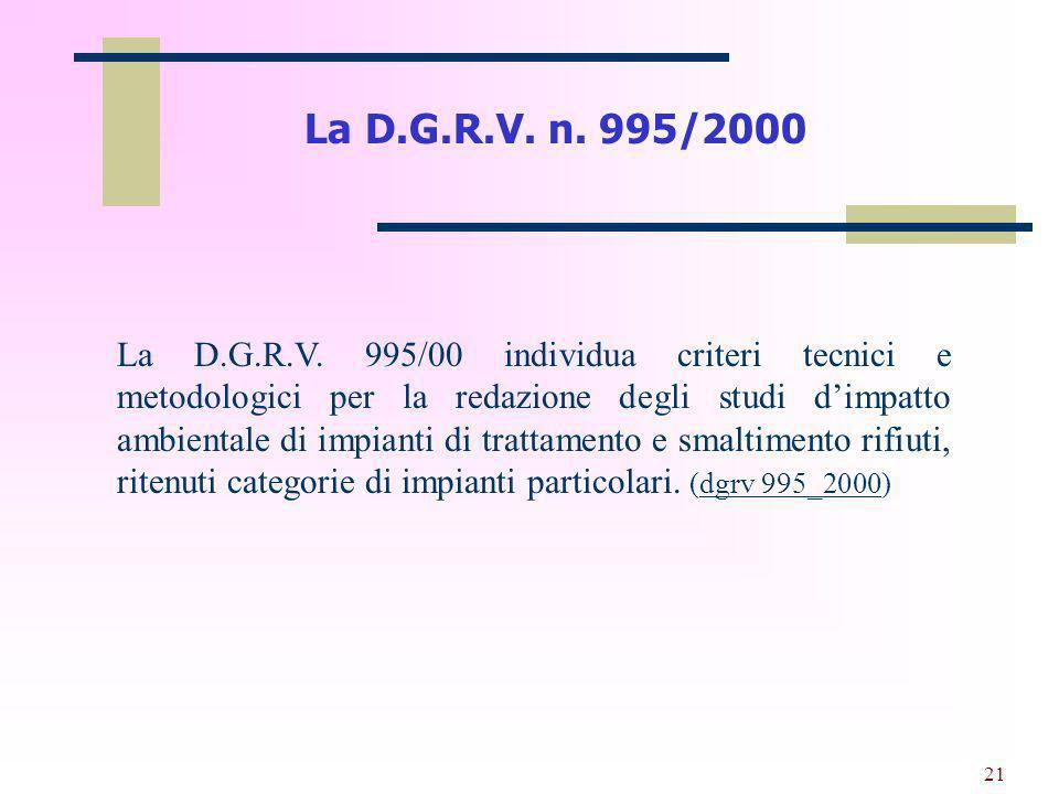 La D.G.R.V. n. 995/2000