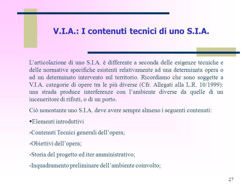 V.I.A.: I contenuti tecnici di uno S.I.A.