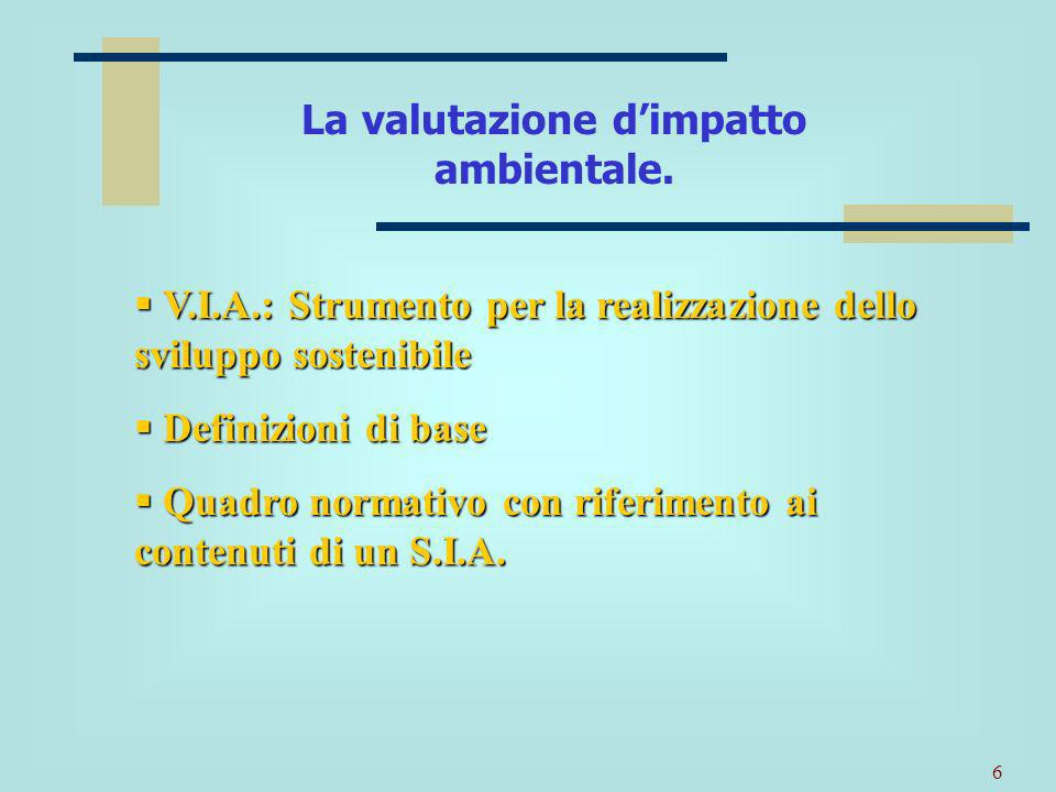 La valutazione d'impatto ambientale.
