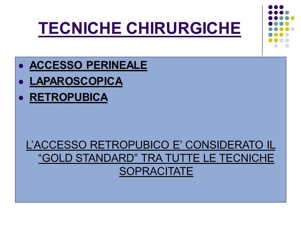 TECNICHE CHIRURGICHE ACCESSO PERINEALE LAPAROSCOPICA RETROPUBICA